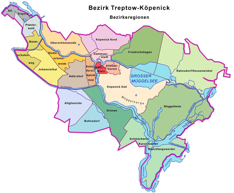 Bezirksregionen Trep-Köp farbig